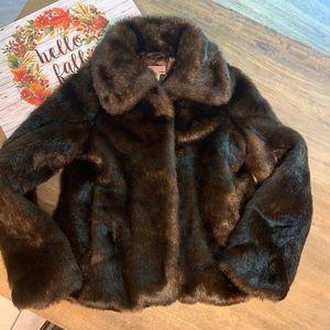 Vintage H&M dark brown faux fur coat